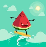 Surfing watermelon. Watermelon on surf board. One of the popular summers activities Stock Photos