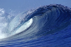 Surfing wave. A view from within the barrel of an ocean wave Stock Images