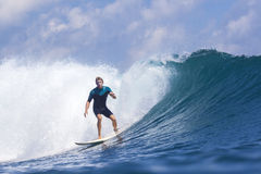 Surfing a wave Royalty Free Stock Photos