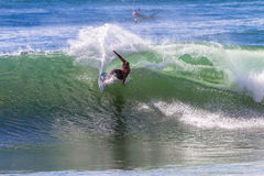 Surfing Wave Carve Turn Stock Photo