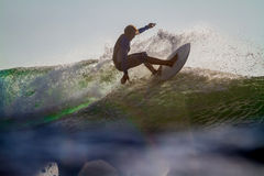 Surfing a Wave. Picture of Surfing a Wave at Sunrise Time Royalty Free Stock Photo