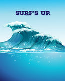 Surfing and waves. Giant waves and ocean view Stock Images