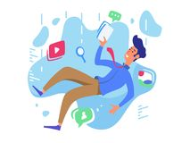 Surfing web network. Video, communication and music. Internet chasm. Vector illustration Royalty Free Stock Images