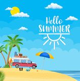 Surfing Weekend Concept. Travel van with surfboard and suitcases on a beach with palms. Summer tourism, travel, trip and surfer. vector illustration in flat Royalty Free Stock Image