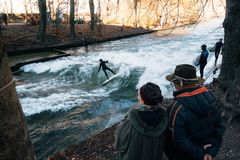Surfing in winter in Munich city, Germany royalty free stock image