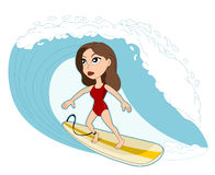 Surfing woman cartoon Royalty Free Stock Photography