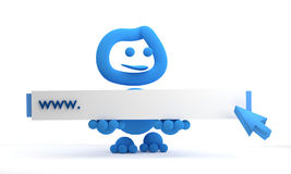 Surfing the www. And blue arrow Stock Images