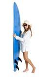 surfingbrädakvinna royaltyfria foton