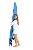 surfingbrädakvinna royaltyfri fotografi