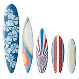 Surfingbrädauppsättning med plan design Arkivbilder