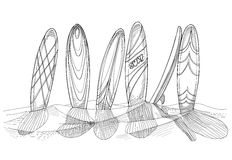 surfingbrädor vektor illustrationer