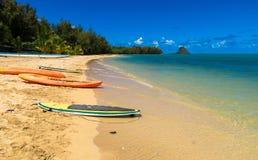 Surfingbrädor och kajaker på kusten av en tropisk strand Royaltyfria Bilder