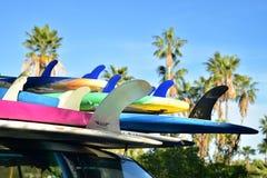 Surfingbrädor som staplas på bilen, taklägger tropiska Baja, Mexico arkivbild