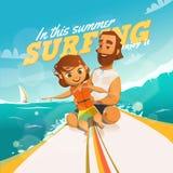 Surfingn deze zomer Geniet van het vector illustratie
