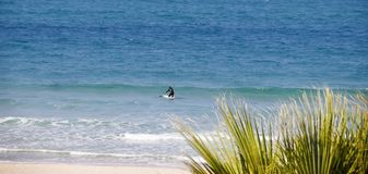 Surfingowów trys stać na desce która wśliznie na fala Obrazy Stock