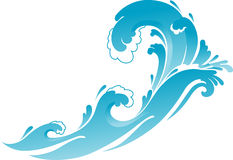 Surfingowa błękita fala ilustracji