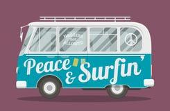 Surfingowa hipisa samochód dostawczy Zdjęcia Royalty Free