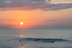 Surfingowa oceanu fala wschód słońca Zdjęcia Stock