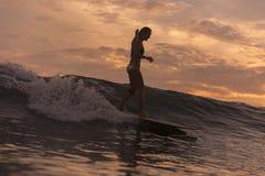 Surfingowiec dziewczyna w oceanie przy zmierzchu czasem Fotografia Royalty Free