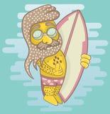 Surfingowiec jest ubranym okulary przeciwsłonecznych trzyma s i surfboard z brodą Fotografia Royalty Free