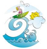 surfingowiec śmieszna fala ilustracja wektor