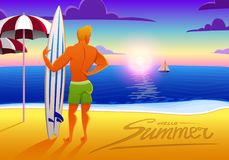 Surfingowiec na ocean plaży przy zmierzchem z surfboard wektorowa ilustracja, rocznika skutek sporty obsługują na weekendach, zdr Zdjęcia Stock