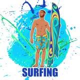 Surfingowiec na ona grunge dostrzega Brefs Frontowy widok Obraz Stock