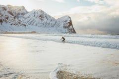 Surfingowiec podbija fale ocean na zima słonecznym dniu zdjęcia royalty free