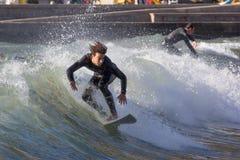 Surfingowowie na plaży Recco w genui Obrazy Royalty Free