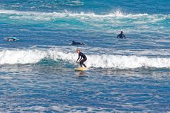 Surfingowowie przy Playa Martianez, Puerto_de los angeles Cruz, Tenerife, Hiszpania Obraz Stock