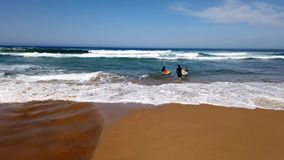 Surfingowowie Wchodzić do ocean spokojny fale, Australia zdjęcie wideo
