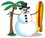 SurfinSnowMan. Image of a snowman holding a surfboard next to a palm tree Royalty Free Stock Photos