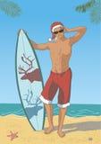 Surfista atrativo no tampão de Santa ilustração do vetor