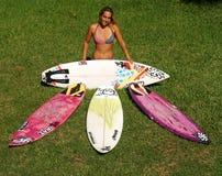 Surfista Cecilia Enríquez da mulher profissional Fotografia de Stock
