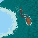 Surfista che fa scorrere sulla grande onda, praticante il surfing Illustrazione di Stock