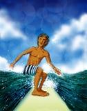 Surfista che prende un'onda Immagine Stock