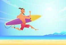 Surfista de sorriso feliz que corre na praia ao mar Viu uma onda grande e foi com pressa ilustração stock