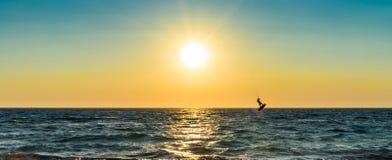Surfista dell'aquilone che salta dall'acqua Immagine Stock Libera da Diritti