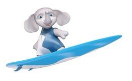 Surfista dell'elefante del carattere con la rappresentazione del bordo di spuma 3d Immagine Stock Libera da Diritti