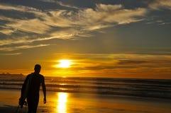 Surfista di camminata al tramonto Fotografia Stock
