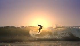 Surfista do por do sol Imagem de Stock Royalty Free