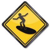 Surfista do sinal e surfar foto de stock royalty free