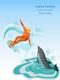 Surfista e delfino. Fotografia Stock Libera da Diritti