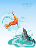 Surfista e golfinho. Fotografia de Stock Royalty Free