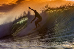 Surfista em onda surpreendente Foto de Stock