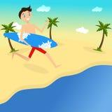 Surfista feliz na praia Vetor Projeto liso ilustração stock