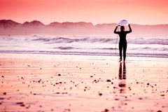 Surfista femminile Fotografie Stock