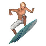 Surfista masculino no branco Imagens de Stock Royalty Free