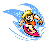 Surfista na onda Fotografia de Stock Royalty Free