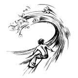 Surfista nella stampa disegnata a mano di serigrafia di schizzo dell'inchiostro della spazzola dell'onda Immagini Stock